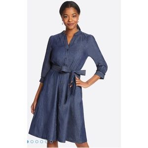 Draper James Elena Denim Chambray Midi Dress NWT